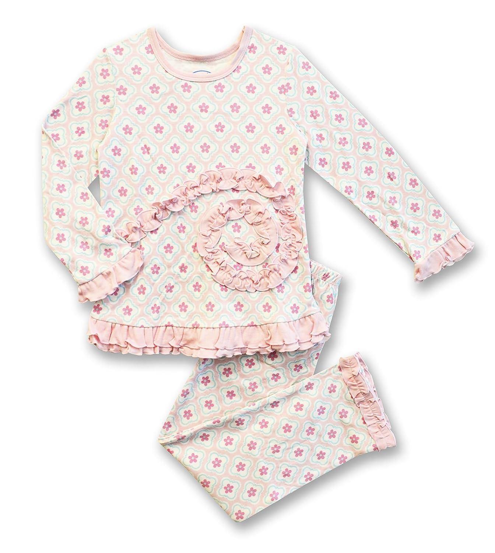 Saras Prints Girls Pink Ruffle Top /& Pant Pajama Set Kids Size 6