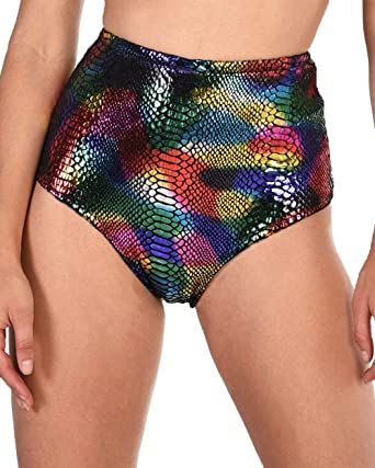 9e4560066ff iHeartRaves Carnival Cobra Rainbow Snakeskin High Waisted Booty Shorts  (Rainbow, X-Small)