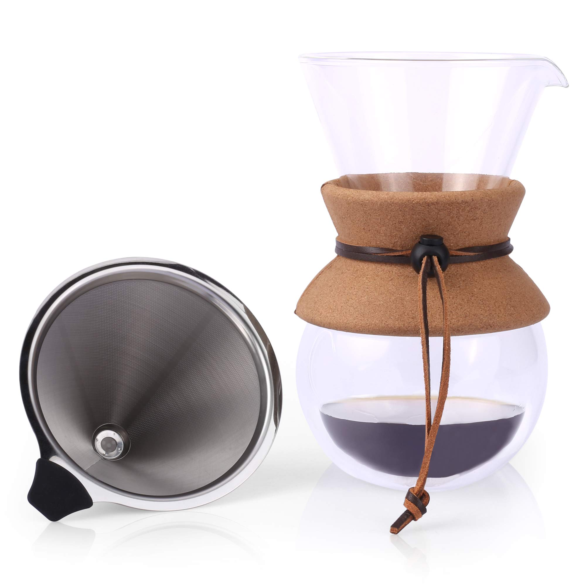Pour Over Coffee Maker by Apace 2019 Premier Collection - Elegant Double Wall Glass Coffee Dripper Brewer Pot w/Carafe & Permanent Stainless Steel Filter (27 oz) by Apace Living