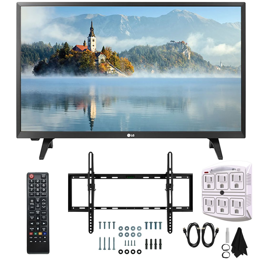 LG 28LJ430B-PU 28'' Class HD 720p LED TV (2017 Model) with Slim Flat Wall Mount Kit and 750 Joule 6-Outlet Surge Adapter Ultimate Bundle by LG