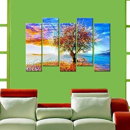 Amazon.com: Wall Mantra 5 Panel Canvas Wall Art Photo Painting ...