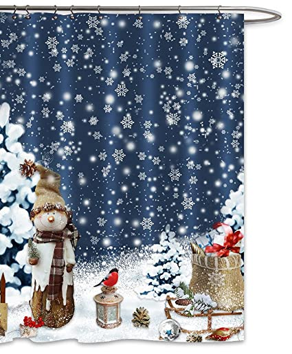 FOOG Christmas Snowflake Snowman Shower Curtains Sets 2018 New Year Bathroom Decoration Snowed Covered Tree