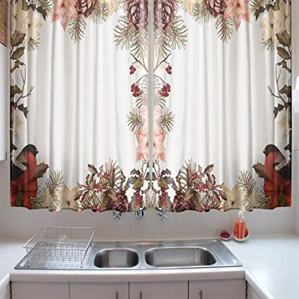 OFloral Kitchen Curtains New Year Eurasian Bullfinch Dried Rose Coral Pale Peach  Kitchen Curtains Window Drapes