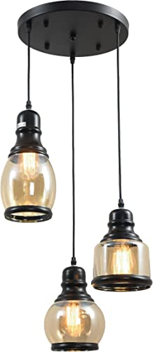 3-Light Vintage Glass Pendant Light, UL-Listed Retro Hanging Lighting Fixture with 3 Lights, Unique Traditional Jar Style Glass Lights for Dinning Room, Bar, Cafe Bulb Not Included