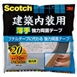 3M スコッチ 建築内装用 薄手 強力両面テープ 20mm×10m PBT-20