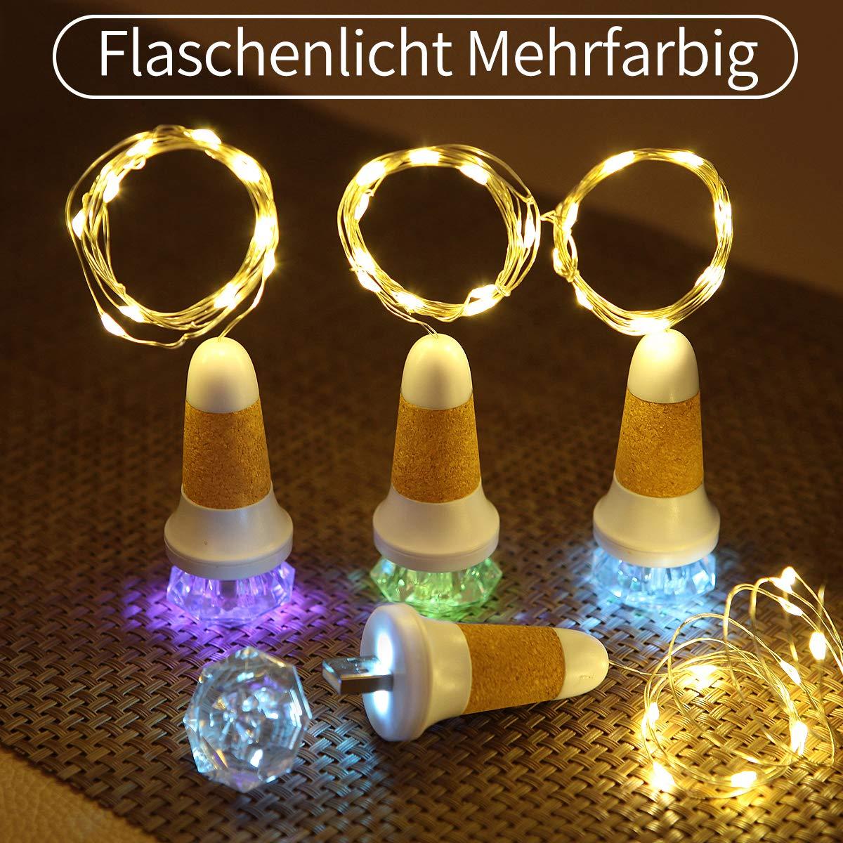 2 Packs Flaschenlichterkette Korken (7 Farbwechsel Mehrfarbig Flaschenlicht + Warmweißes Lichterkette), LED Bottle Lamp USB Wiederaufladbar für Weihnachten, Zimmer, Party, Hochzeit, Geburtstag