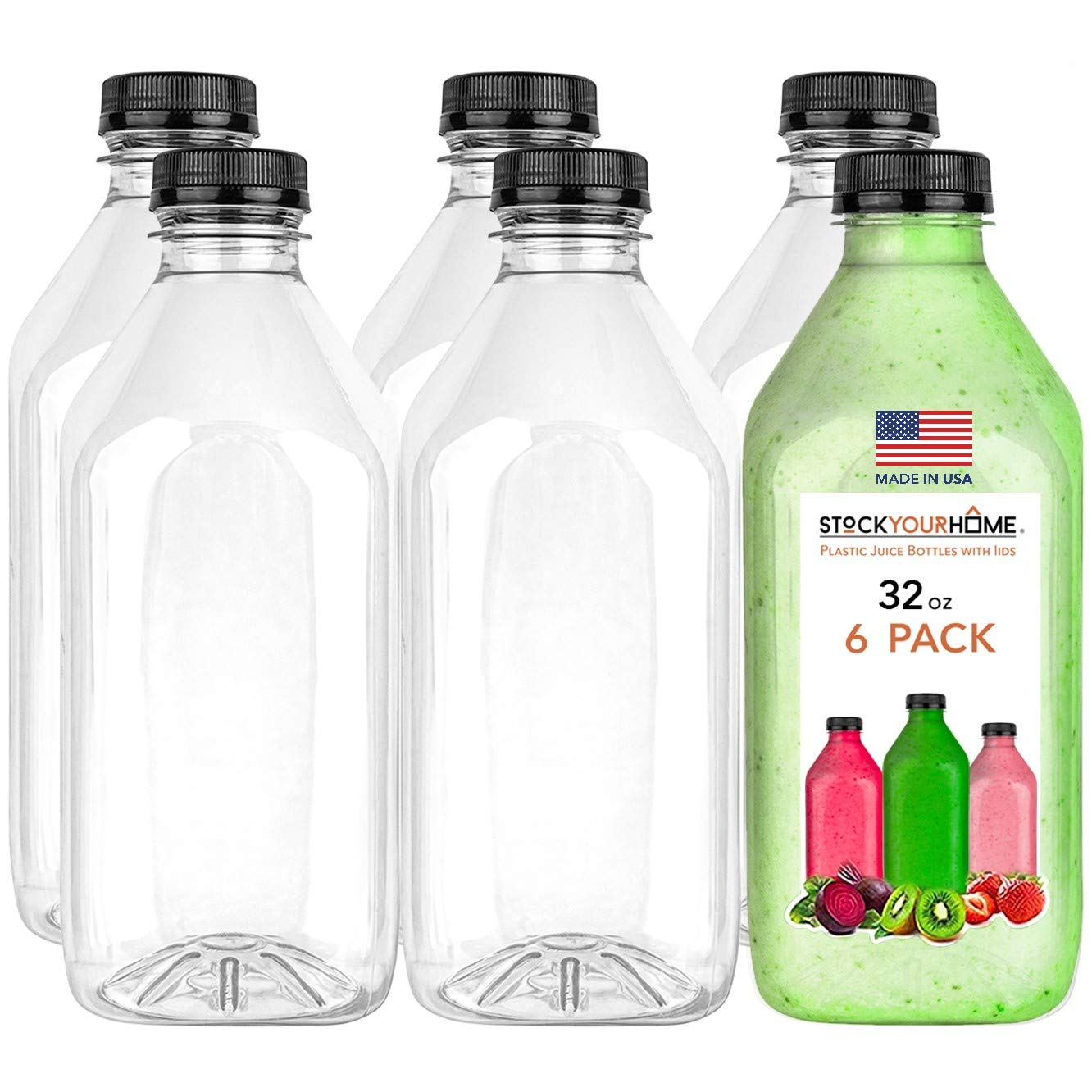 Stock Your Home Plastic Juice Bottles with Lids, Juice Drink Containers with Caps for Juicing Smoothie Drinking Cold Beverages, 32 Oz Bottle, 6 Count