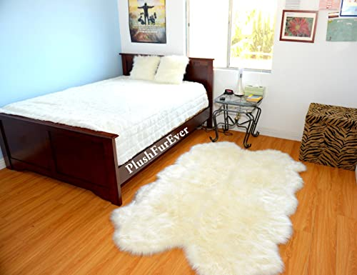 Plush Faux Fur Sheepskin Warm Off White Shaggy Shag Area Rug Handmade USA 4'x6'