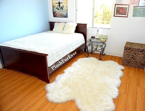 Plush Faux Fur Sheepskin Warm Off White Shaggy Shag Area Rug Handmade USA 4'x6'