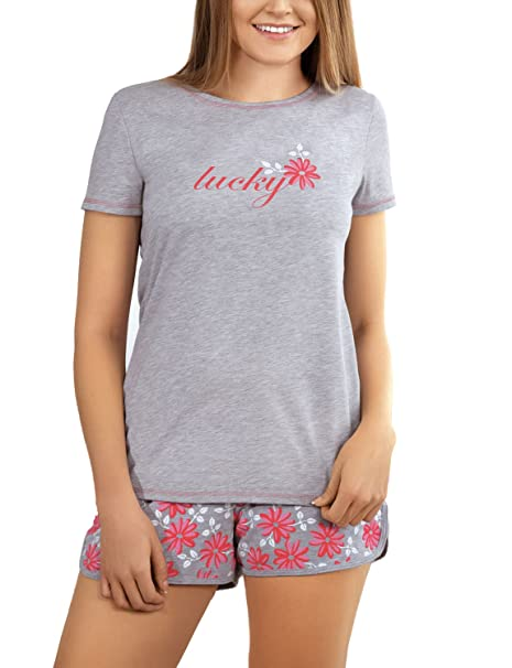 Babella 3053-2 Pijama De Dos Piezas Para Mujeres Camiseta De Manga Corta Shorts Floral