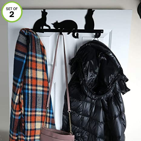 Evelots Cat Over Door Hanger/Rack-Coat/Towel/Purse-4 Strong Hooks-Sturdy Metal