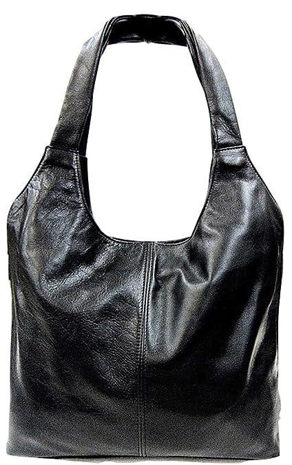 29bbd20d13 Handbag Bliss Large Super Soft Italian Leather Slouch Shoulder Bag Handbag  With Expandable Zip Sides (