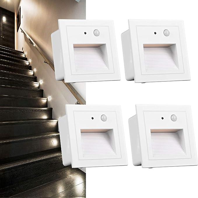 3W LED Wandeinbauleuchte Treppenlicht Stufenlicht Außen mit Bewegungsmelder IP65