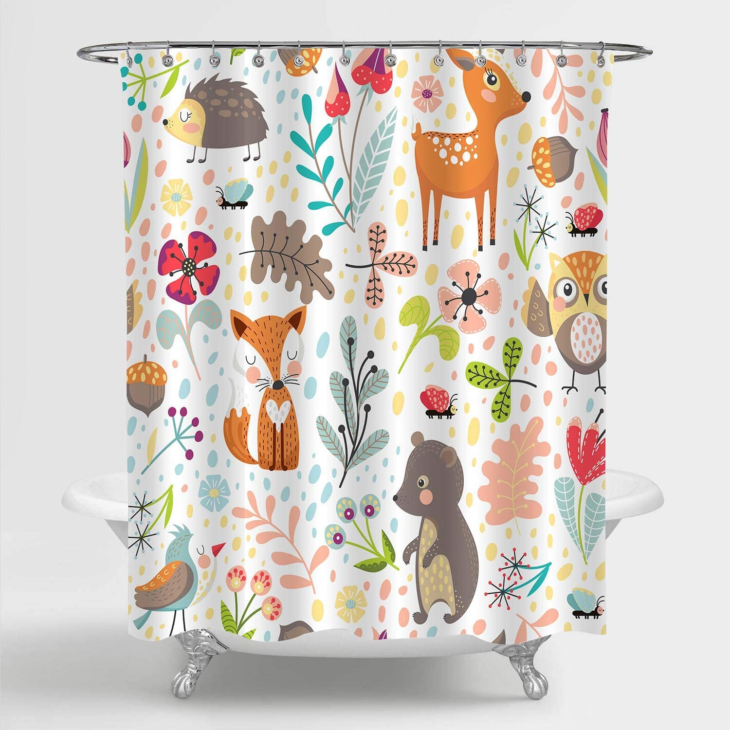 "MitoVilla Kids Shower Curtain Set for Bathroom Decor, Colorful Cartoon Forest Animals Deer, Owl, Fox, Bird and Bear Art Print Bathroom Accessories, for Kids Girls and Boys, 72"" W x 72"" L"
