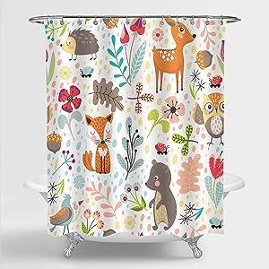 "MitoVilla Kids Shower Curtain Set for Bathroom Decor, Colorful Cartoon Forest Animals Deer, Owl, Fox, Bird and Bear Art Print Bathroom Accessories, for Kids Girls and Boys, 72"" W x 72"" L"