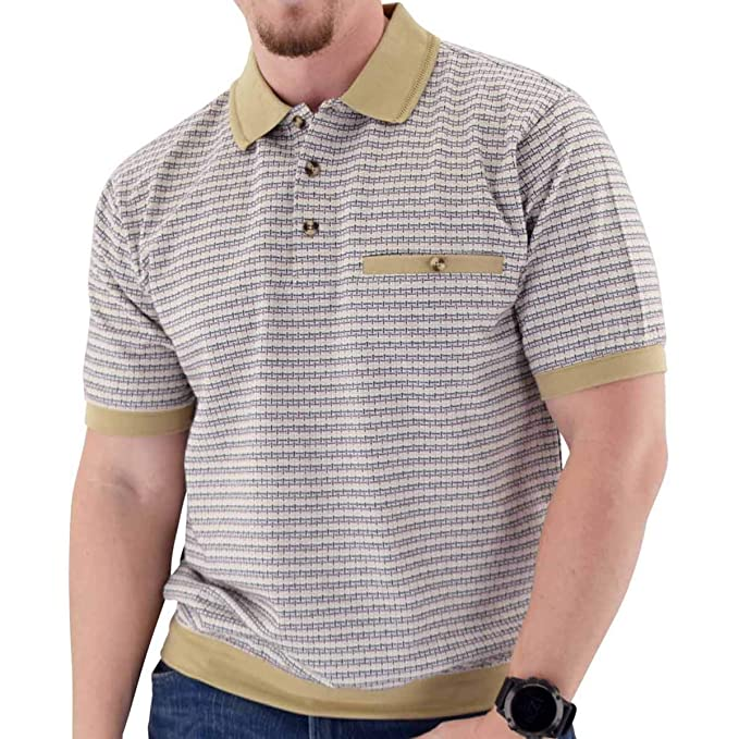Mens Vintage Shirts – Casual, Dress, T-shirts, Polos Classics by Palmland Short Sleeve 3 Button Banded Bottom Knit Collar Shirt - White $27.99 AT vintagedancer.com