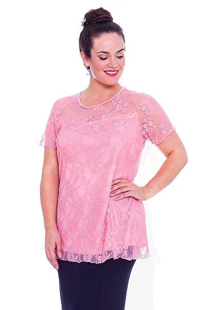 Blusa de encaje floral con forro de túnica para mujer, en talla grande 14 a