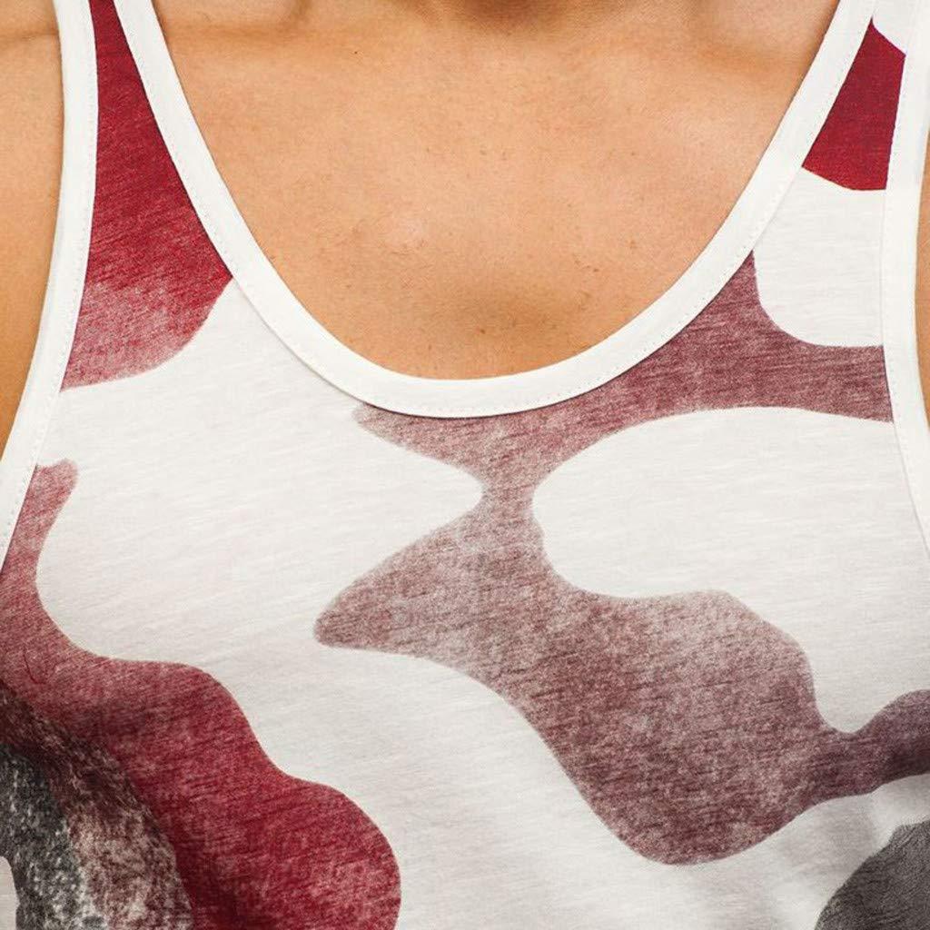 LEXUPA t Shirts for Men Mens Sleeveless Tank T-Shirt Patchwork Camouflage Bodybuilding Sport Fitness Vest