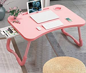 Foldable Bed Table for Laptop, Laptop Desk Table Stand, Laptop Bed Tray Table with Storage Drawer, Notebook Stand Lap Desk for Writing Reading Eating, Portable Laptop Table for Bed Sofa Floor-Pink