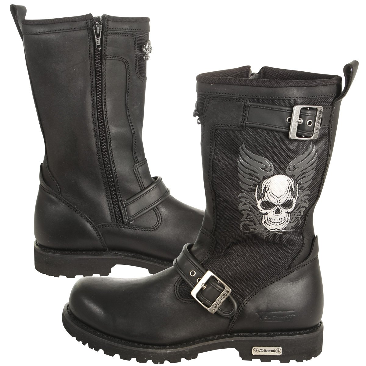9.5 Xelement X19405 Mens Black Tribal Skull Boots with Poron Insoles