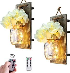 SUNVP Rustic Mason Jar Wall Lights with Timer LED & Remote Control, Hanging Battery Powered Sconce, Fairy Light String & Solid Wooden Boards with Silk Hydrangea Flower for Farmhouse, White, set of 2