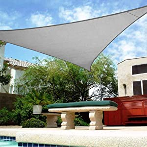 Shade&Beyond 16'x16'x16' Sun Shade Sail Triangle Canopy Light Grey Outdoor UV Sunshade Sail for Patio Yard Backyard Garden Lawn