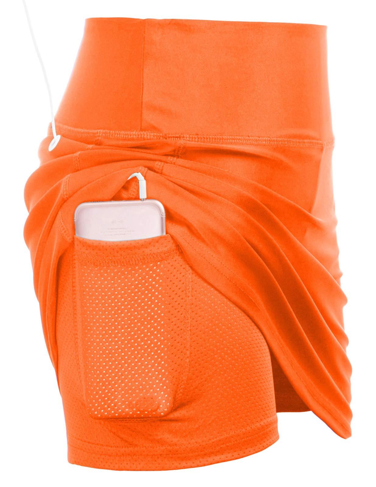 JACK SMITH Women's Athletic Skort Pleated Tennis Golf Skirt with Pockets(L,Orange) by JACK SMITH