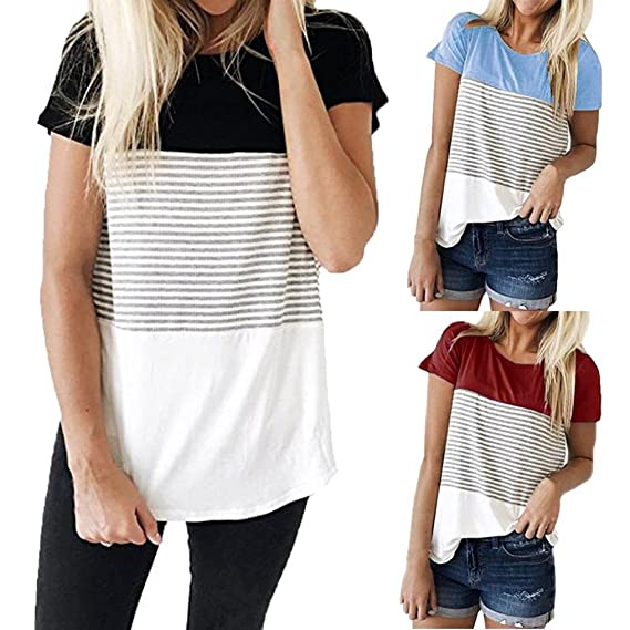 Start_wuvi Short Sleeve Round Neck Triple Color Block Stripe T-Shirt Casual Blouse at Amazon Womens Clothing store: