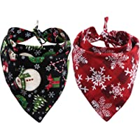 KZHAREEN 2 Pack Christmas Dog Bandana Reversible Triangle Bibs Scarf Accessories for…