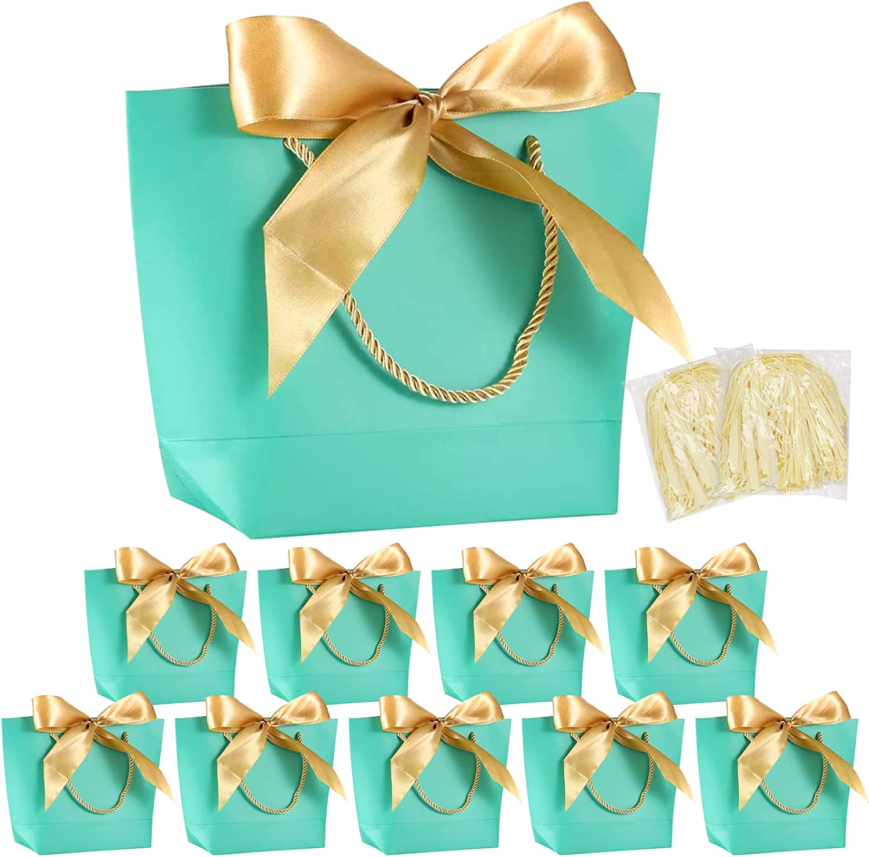 10 bolsas de regalo con lazo MEZOOM Bolsa de regalo de papel con asas para triturar Papel de regalo Embalaje triturado para cumpleaños boda regalo envoltura celebración