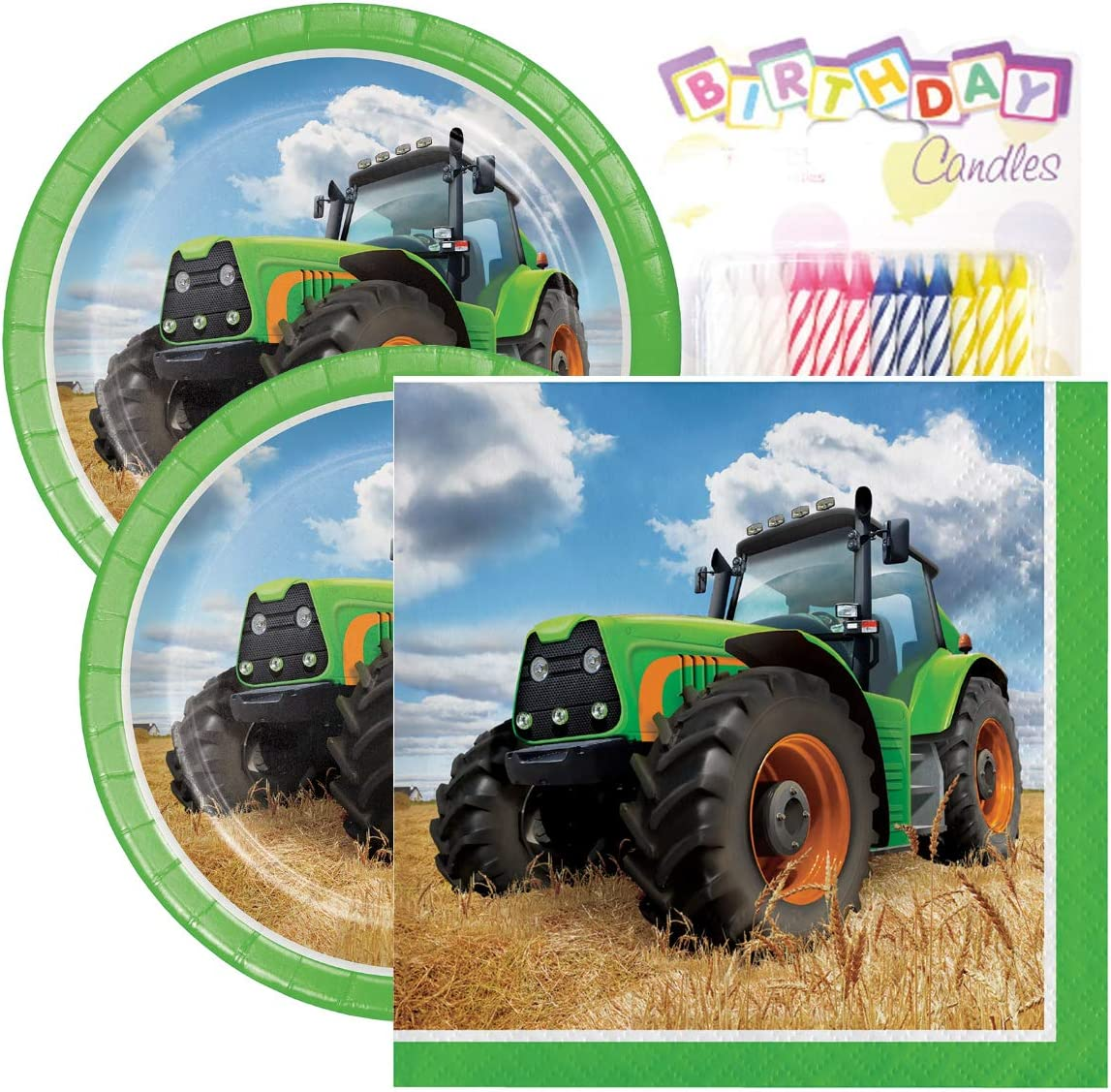 "Tractor Time Birthday Party Pack – Includes 7"" Paper Plates & Beverage Napkins Plus 24 Birthday Candles – Serves 16"