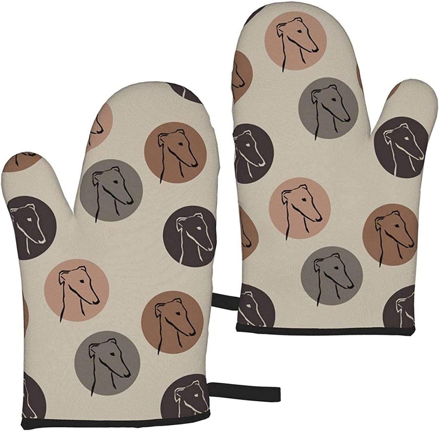 Greyhound Sighthounds 1 Pair of Oven Mitts Heat-Resistant Microwave Oven Gloves for Cooking BBQ Baking