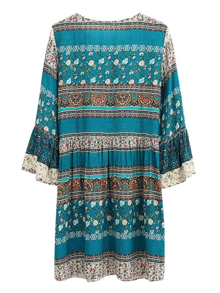 Damen Vintage Bohemian Strand Tunika Sommerkleid Boho Kleid