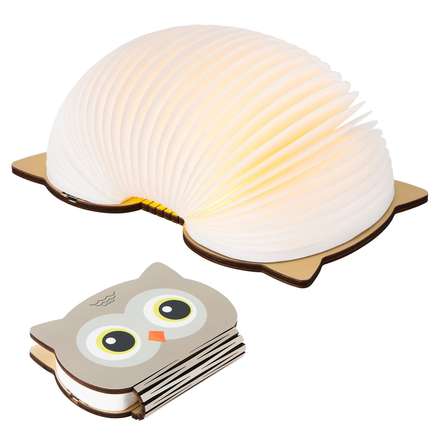 ONEVER LED Rechargeable Table Light, Foldable Color Changing LED Light Book Style Creative Decorative Night Light Wall Lamp (Owl)