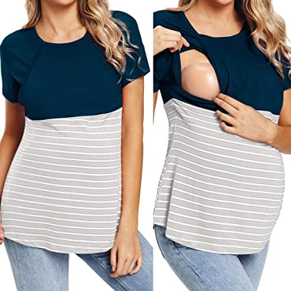 bf1fb85542213 Image Unavailable. Image not available for. Colour: Nacome_Promotion Short  Sleeve Double Layer Maternity Nursing Tops Shirts Breastfeeding Stripe ...