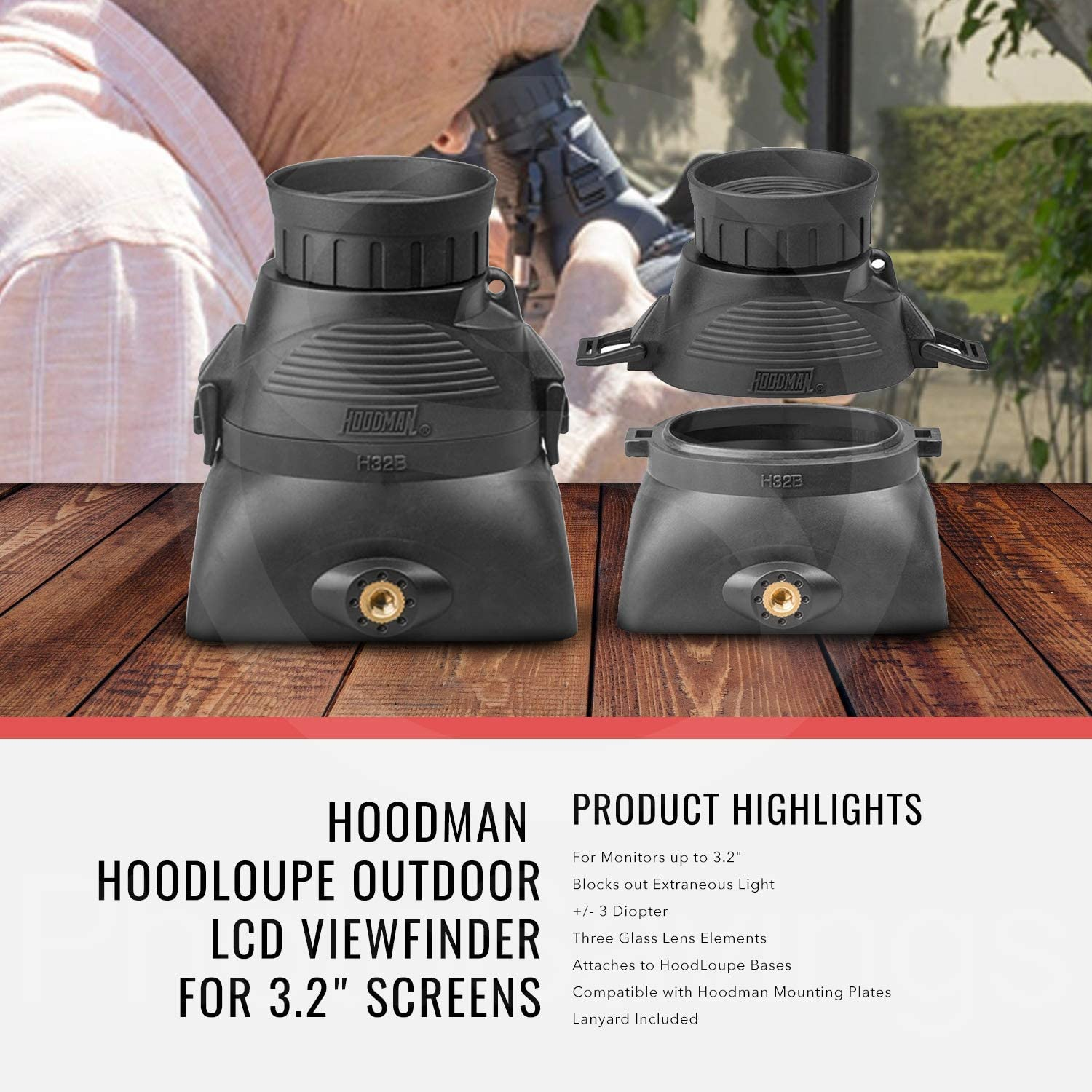 Hoodman H32MB HoodLoupe Outdoor Loupe for 3.2 LCD Screens with LCD Cleaning Cloth Kit