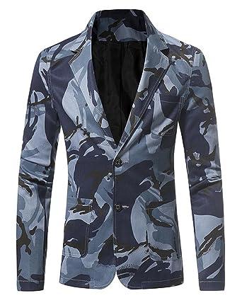 5ed5fa5100dfd KLJR Men Sport Coat Slim Fit 2 Button Suit Camouflage Blazer Jacket Blue US  XS