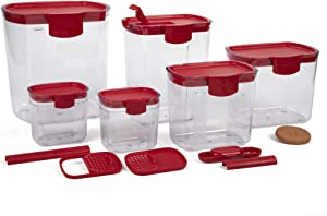 Progressive Prepworks ProKeeper 6 Piece Kitchen Clear Plastic Food Storage Organization Container Baking Canister Set, Red