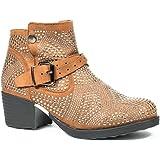 Ideal Shoes Bottines Effet Daim recouvert de Clous et Strass Vedania