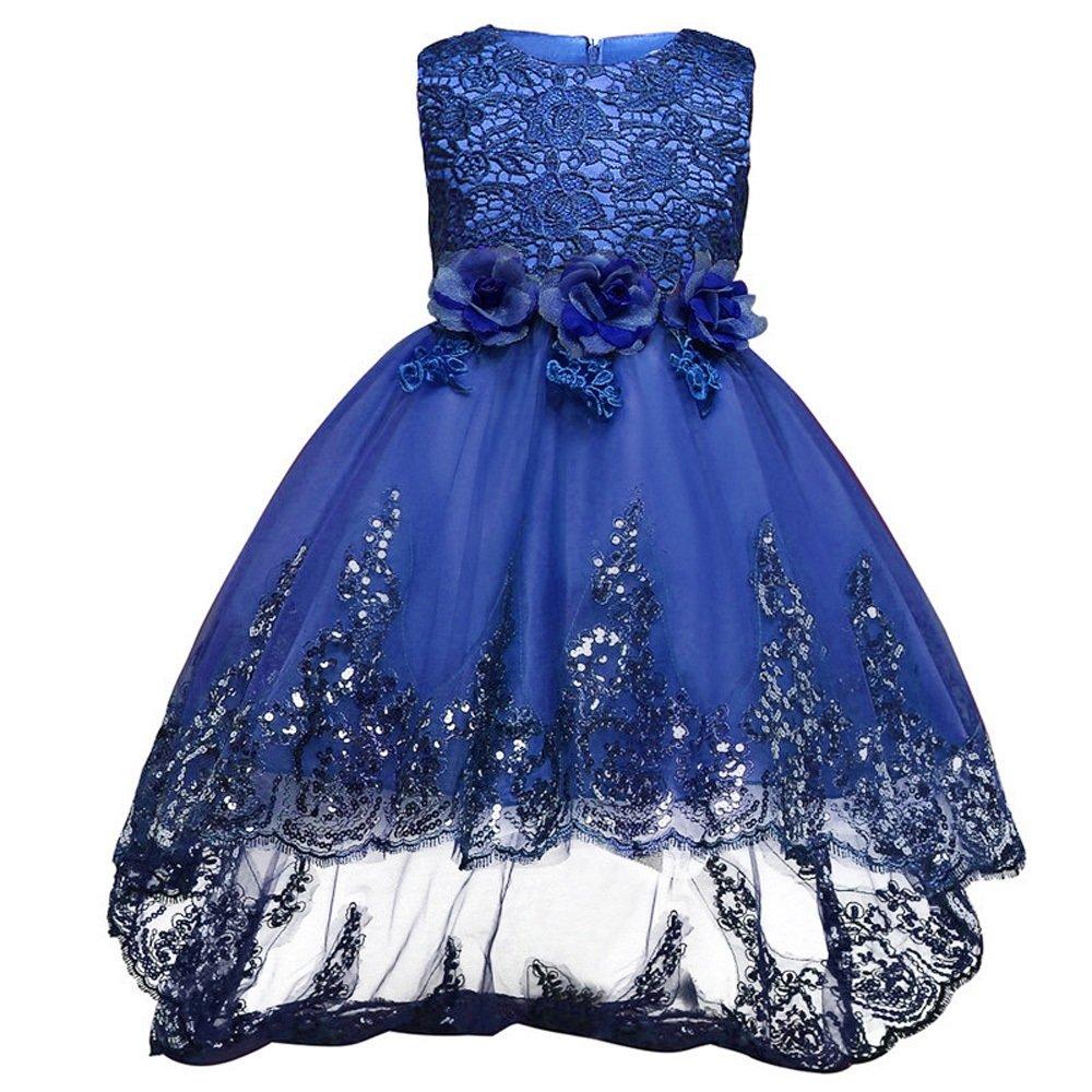FXFAN Kinderkleidung Kinder gekräuselte Spitze Partei Hochzeitskleid ...
