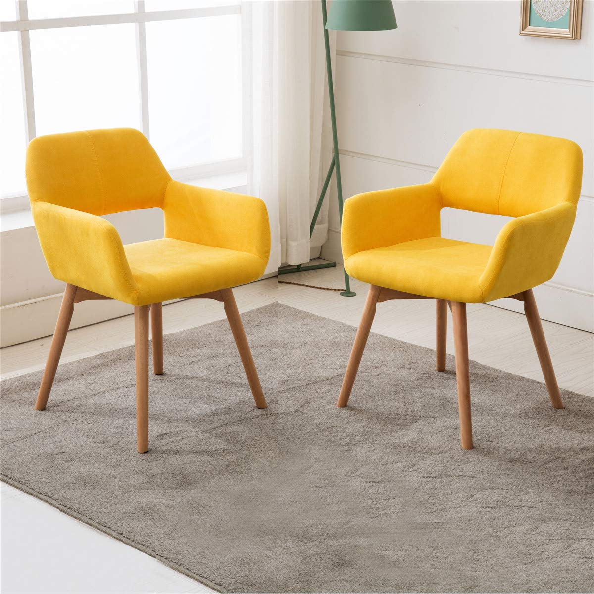 Lansen Furniture Set of 2 Modern Living Dining Room Accent Arm Chairs Club Guest with Solid Wood Legs Yellow