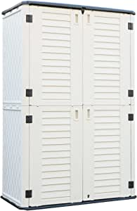 ADDOK Vertical Storage Shed Weather Resistance, Lockable Storage Unit Multi-Function, Durable Outdoor Tool Storage Cabinet for Patio, Garden, Backyards(Ivory White, 53 Cubic Feet)