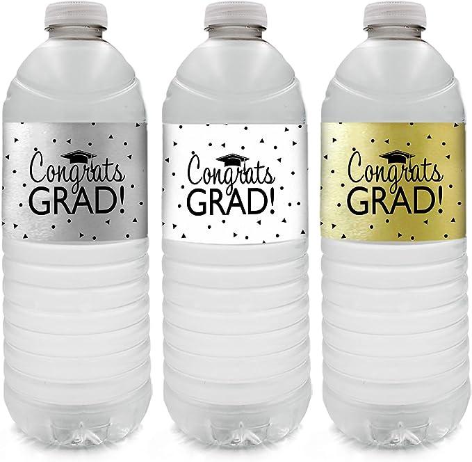 Personalized Graduation Drink Labels Graduation Water Bottle Labels Class of 2021 Congrats Grad Set of 10 Waterproof Water Bottle Wraps