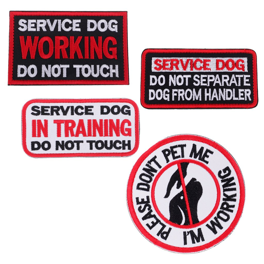 Baoblaze 4 Pieces Hook & Loop Embroidered Patches Transfers Patch Badge Service Dog Harness
