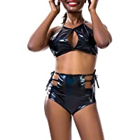 Oflive Women's Sexy 2 Piece Outfits Shiny Rave Crop Top & Booty Shorts Clubwear