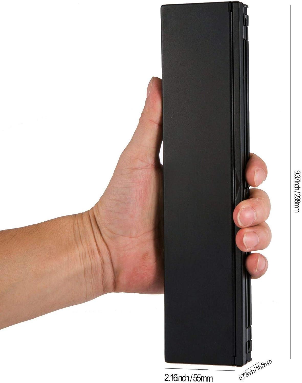 QIAOXINGXING Tablet Smart Phone External Portable tri-fold Folding Aluminum Alloy Bluetooth Keyboard JF Color : Black