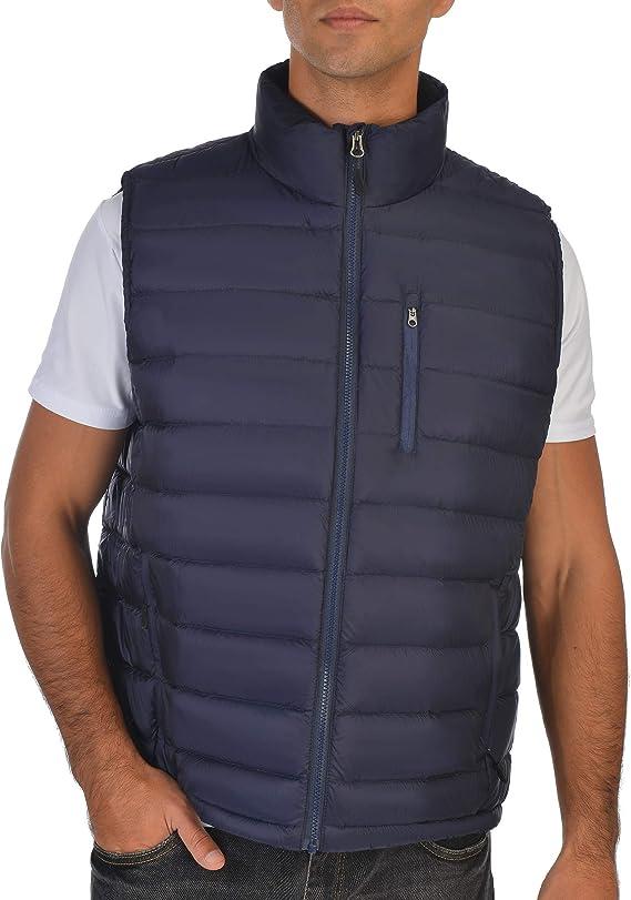 Mens Puffer Vest with Detachable Hood Windproof Drawcord 3 Pockets Fleece Collar Sleeveless Jacket Gilet