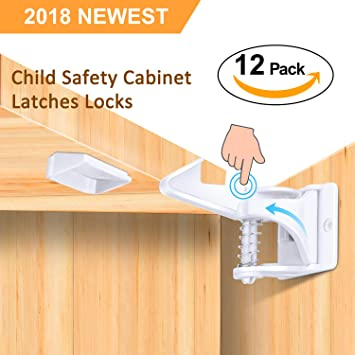 Cabinet Locks Child Safety Latches - 12 Pack Baby Proofing Cabinets Lock  and Drawers Latch Invisible...