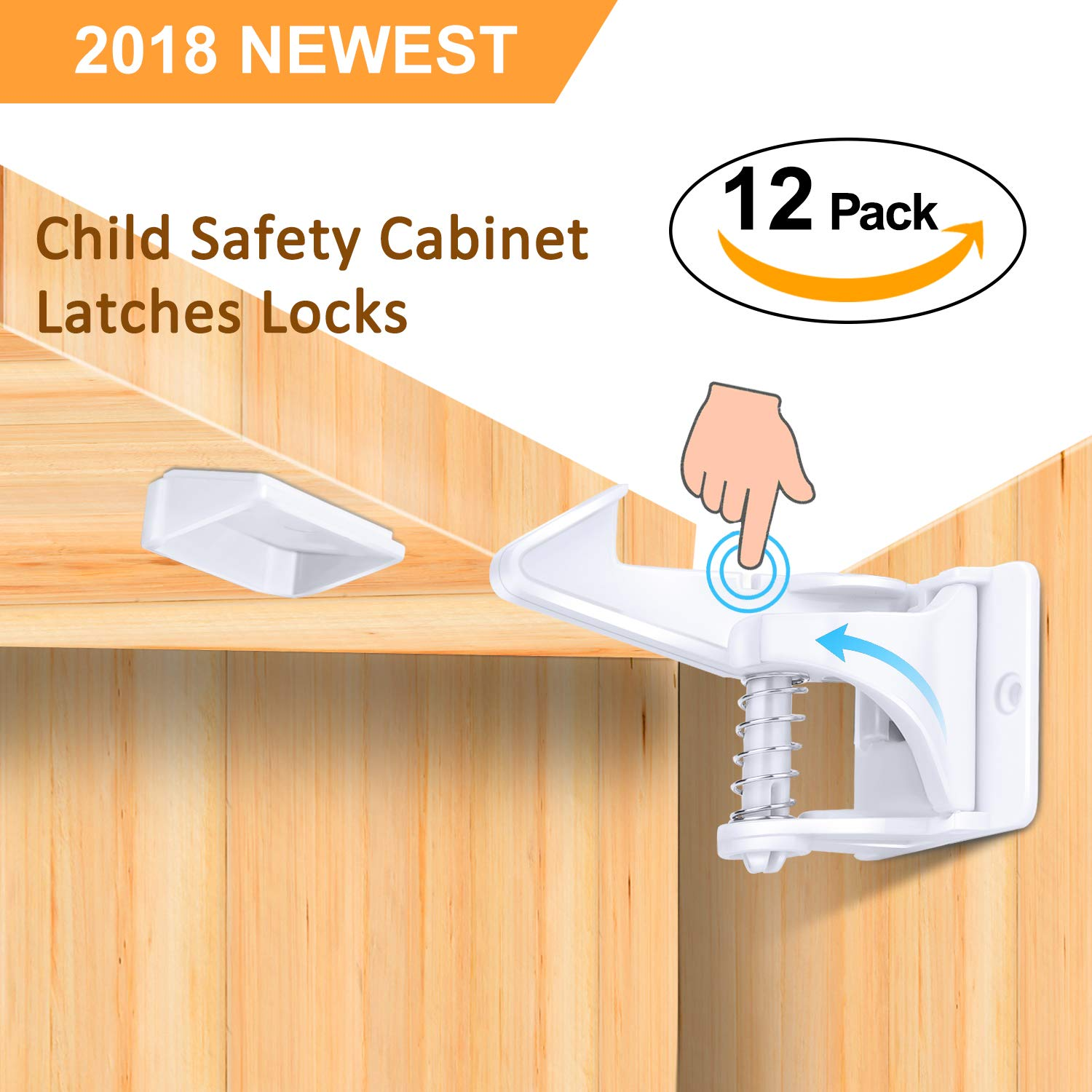 Child Safety Cabinet Locks, Baby Cupboard Locks 12 Pack Home Safety Latches, Invisible and Unlocked Design, Strong Adhesive, Easy to Install, No Drilling Needed for Drawers and Kitchen Cabinets