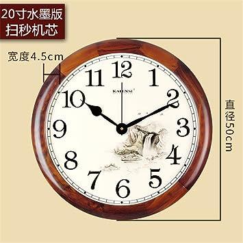 AIZIJI Un Gran número de Modernos y Minimalistas Ronda Silencio Relojes Antiguos Continental Reloj de Madera Elegante salón Creativa Reloj de Pared: ...